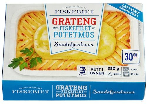 Fiskegrateng Med Sandefjordsaus Middag for 1 person, 350 g