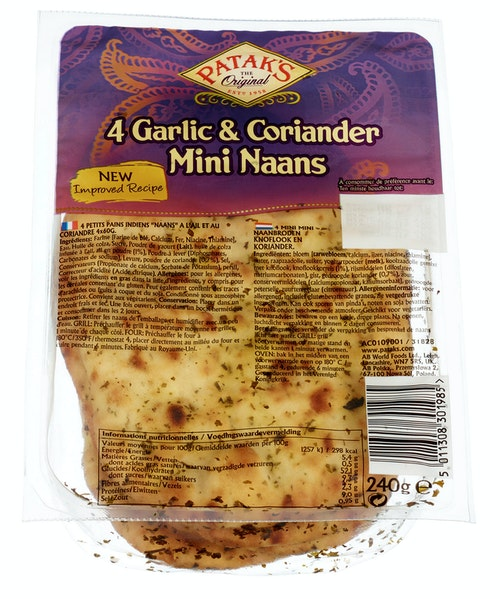Patak's Naanbrød Mini med Hvitløk & Koriander 4 stk, 240 g