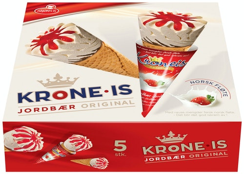 Eventyr Is Krone-Is Jordbær 5 x 120ml, 720 ml