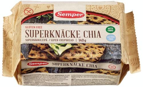 Semper Chia Knekkebrød Glutenfri, 140 g