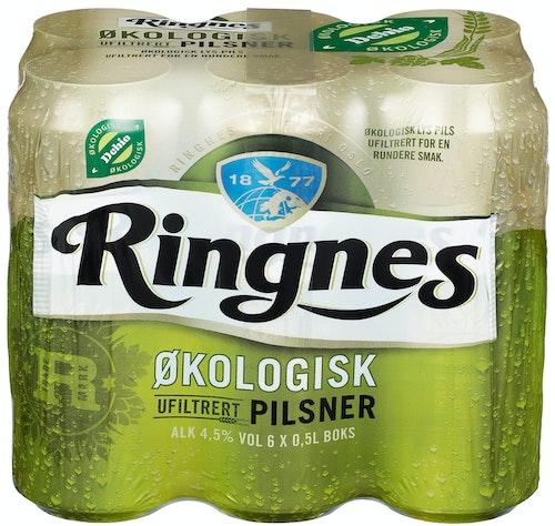 Ringnes Ringnes Ufiltrert Økologisk 6x0.5l, 3 l