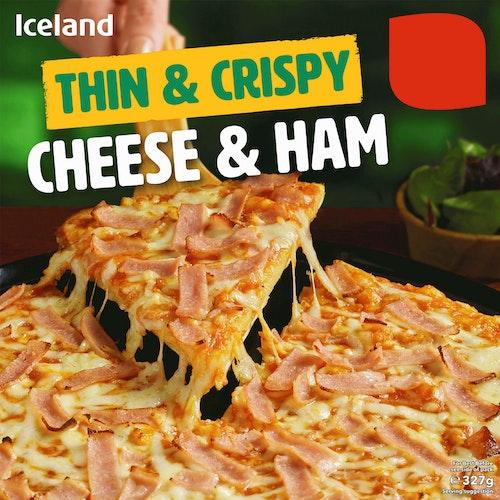 Iceland Ost og Skinke Pizza Thin & Crispy, 327 g