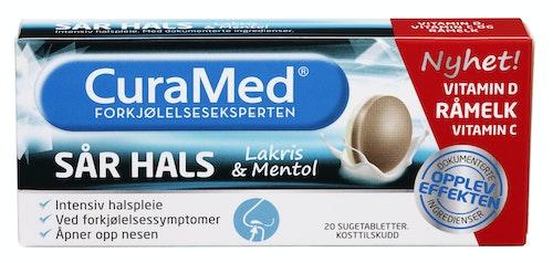 Curamed Curamed Sår Hals Sugetablett Mentol og Lakris, 20 stk