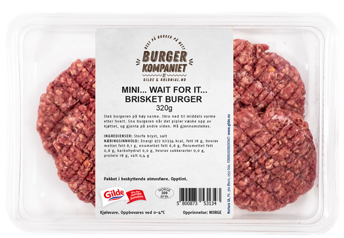BurgerKompaniet Mini Brisket, Venteburger 4 stk, 320 g