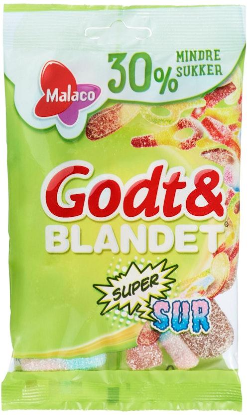 Malaco Godt & Blandet Supersur 30 % Mindre Sukker, 110 g