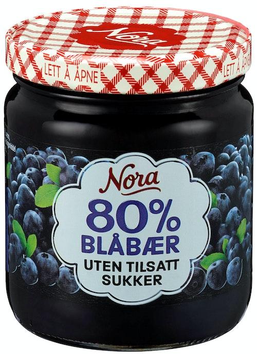 Nora Blåbærsyltetøy Uten Tilsatt Sukker 275 g