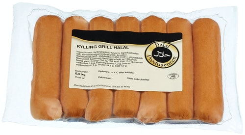 Grillpølse Kylling Halal 500 g