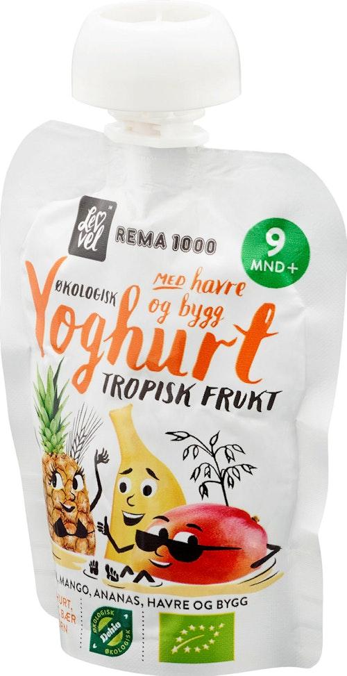 REMA 1000 Lev Vel Yoghurt med Tropisk Frukt Fra 9 mnd, 90 g