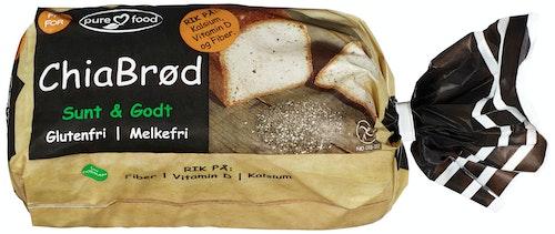 Pure Food Chia Brød Skåret, Glutenfri, Fryst, 500 g