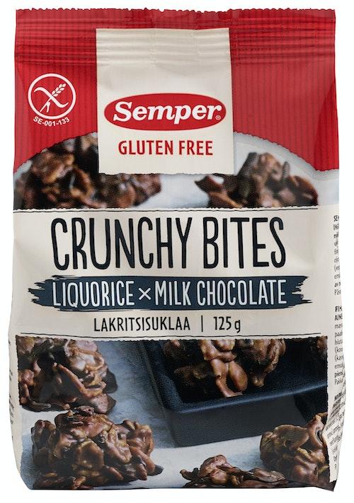 Semper Crunchy Bites Lakris Og Sjokolade 125 g