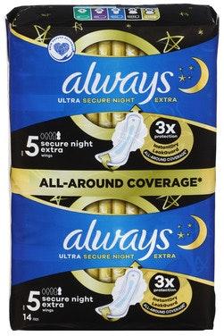 Always Always Bind Ultra Secure Night Extra Str 5, 14 stk
