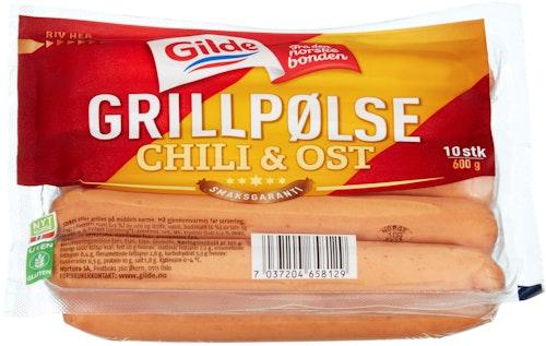 Gilde Grillpølse Ost & Chili 600 g