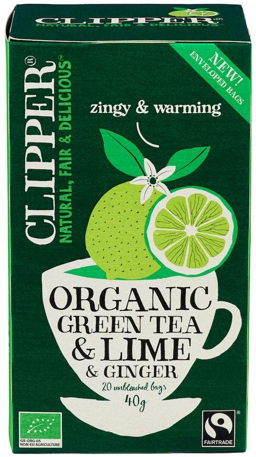 Clipper Te Lime & Ginger Green Økologisk, 20 stk