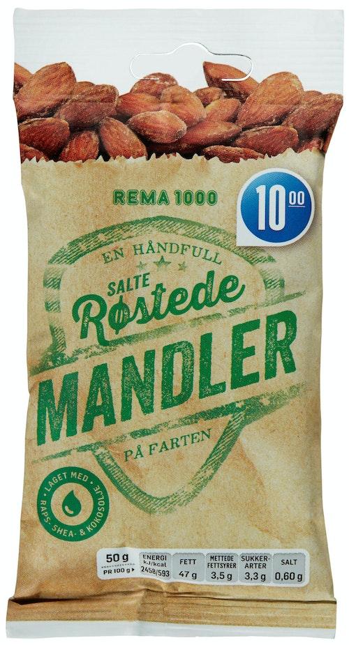 REMA 1000 Mandler Saltet Og Ristet, 50 g