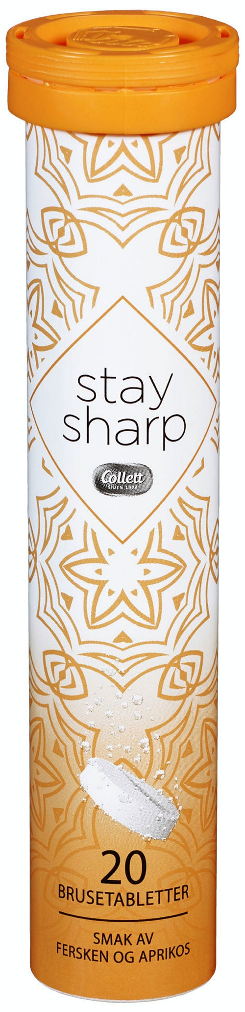 Collett Stay Sharp Fersken & Aprikos Brusetabletter, 20 stk