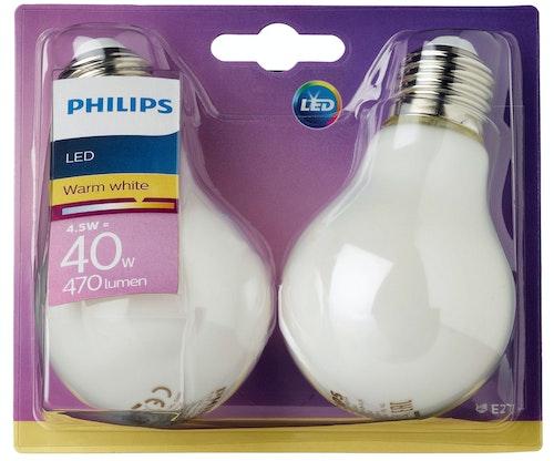 Philips Lyspære Led Classic 40w, E27 Normal Frostet Varmhvit, 2 stk