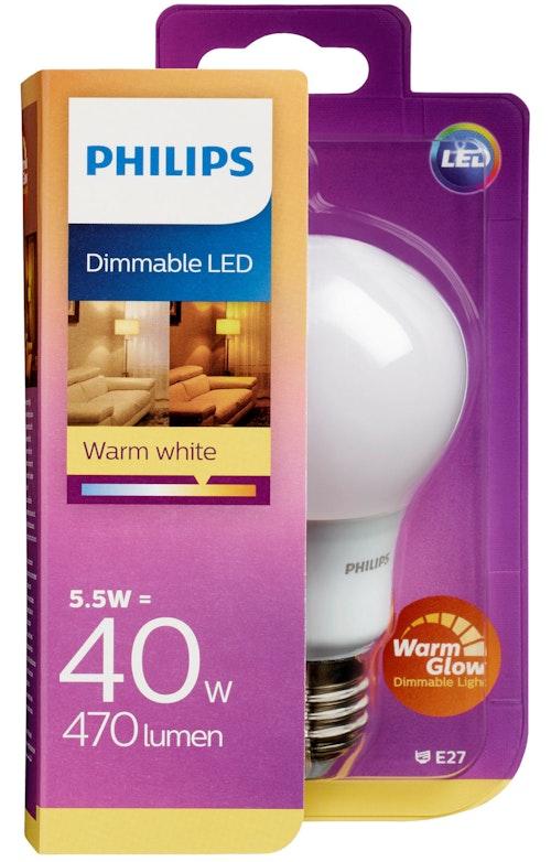 Philips Lyspære Led 40w, E27 Warmglow Norm, 1 stk