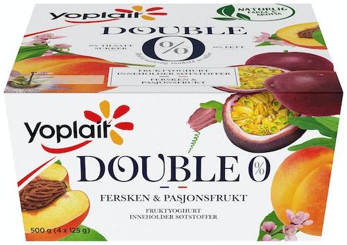 Fjordland Yoplait Double 0% Fersken&Pasjon, 4x125g, 500 g