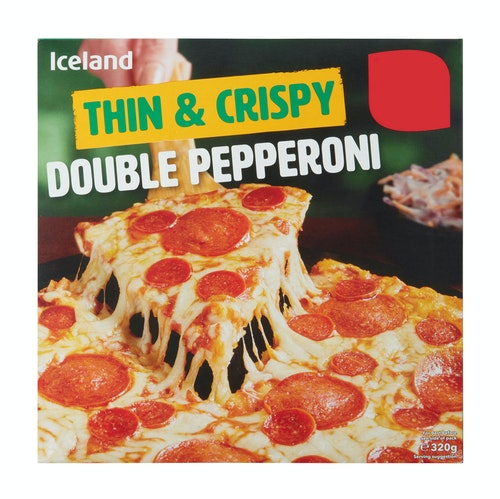 Iceland Dobbel Pepperoni Pizza Thin & Crispy, 320 g