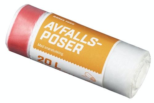 REMA 1000 Avfallspose med Snøring Klar, 20l, 30 stk
