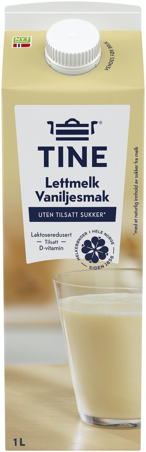 Tine Tine Lettmelk Med Vanilje Uten Tilsatt Sukker, 1 l