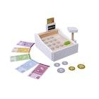 Kasseapparat i tre med penger og bankkort