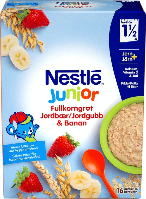 Nestlé Junior Fullkorn Jordbær Banan Fra 1,5 år, 480 g