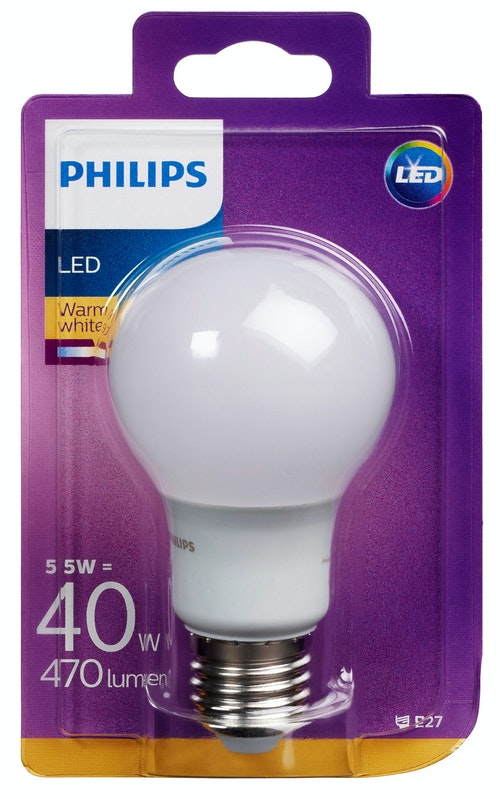 Philips Lyspære Led 40w, E27 Normal Frost, 2 stk