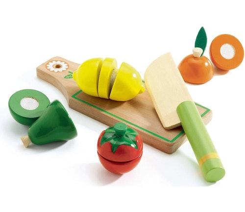 Djeco Sett med Frukt og Grønt i Tre 1 stk