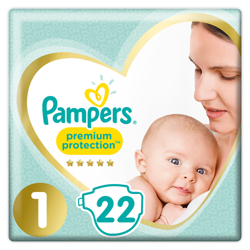 Pampers Pampers Premium Protection New baby Str.1 2-5kg, 22 stk