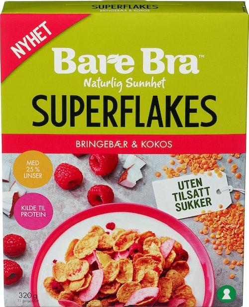 Bare Bra Superflakes Bringebær og Kokos 320 g