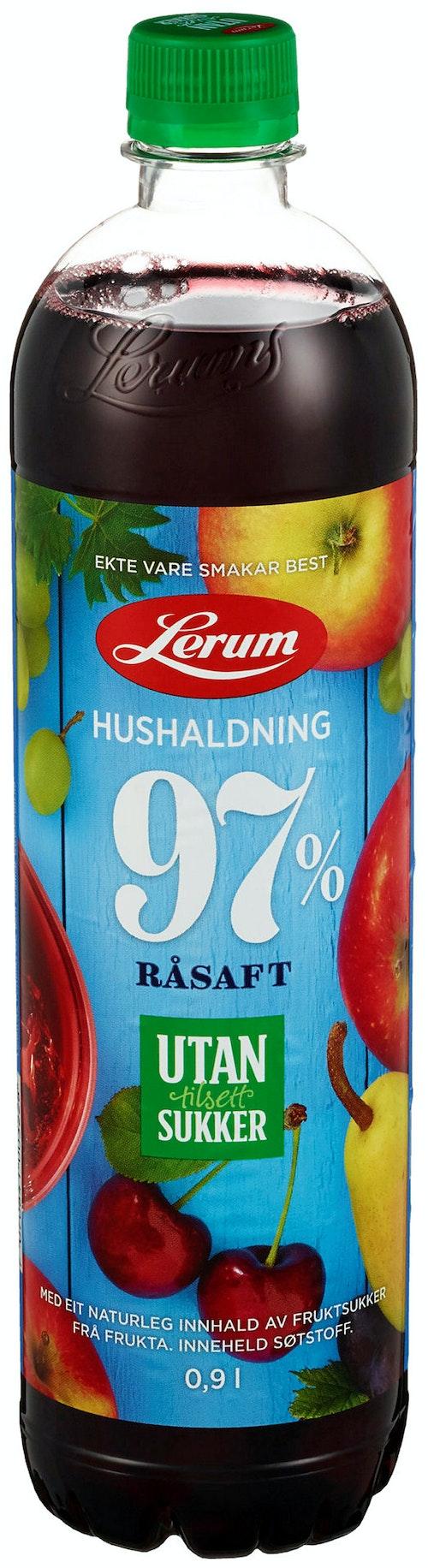 Lerum Husholdningssaft Uten tilsatt sukker, 0,9 l