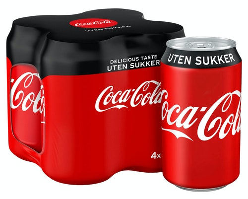 Coca-Cola Coca-Cola Uten Sukker 4 x 0,33l, 1,32 l