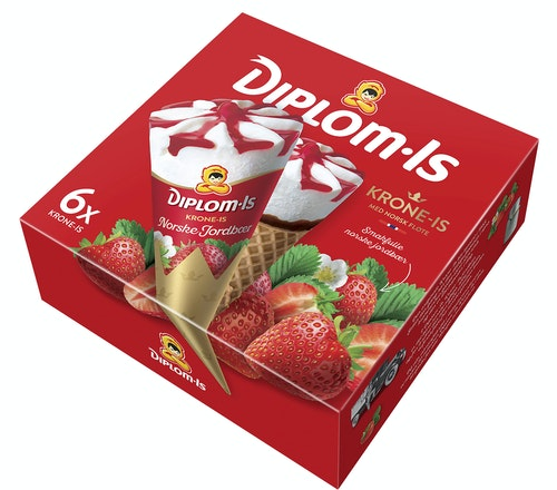 Diplom-Is Krone-Is Jordbær 6 stk, 750 ml