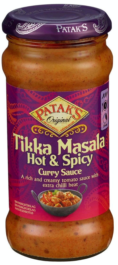 Patak's Cooking Saus Tikka Masala Hot & Spicy Curry Sauce, 350 g