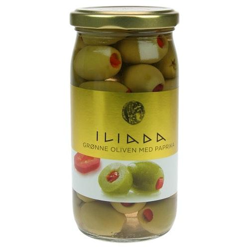 Iliada Oliven Grønn Med Paprika 370 g