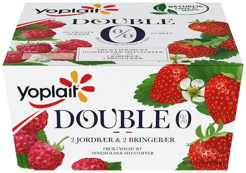 Yoplait Yoplait 00% Jordbær & Bringebær 4x125g, 500 g