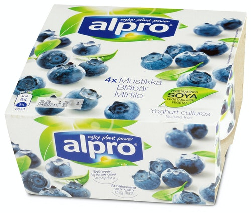 Alpro Soyayoghurt Blåbær 4x125g, 500 g