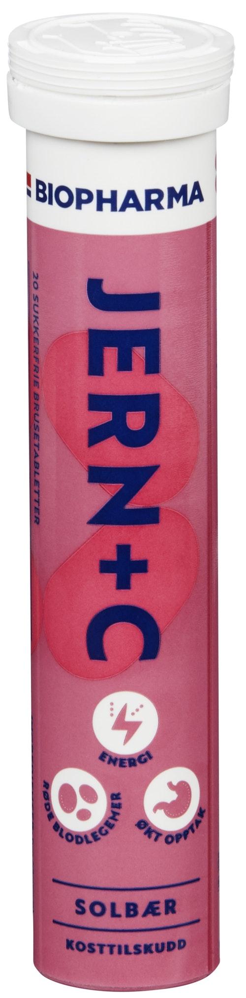 Biopharma Jern brusetablett solbærsmak, 20 stk