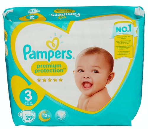 Pampers Pampers Premium Protection New Baby Str.3 6-10kg, 29 stk