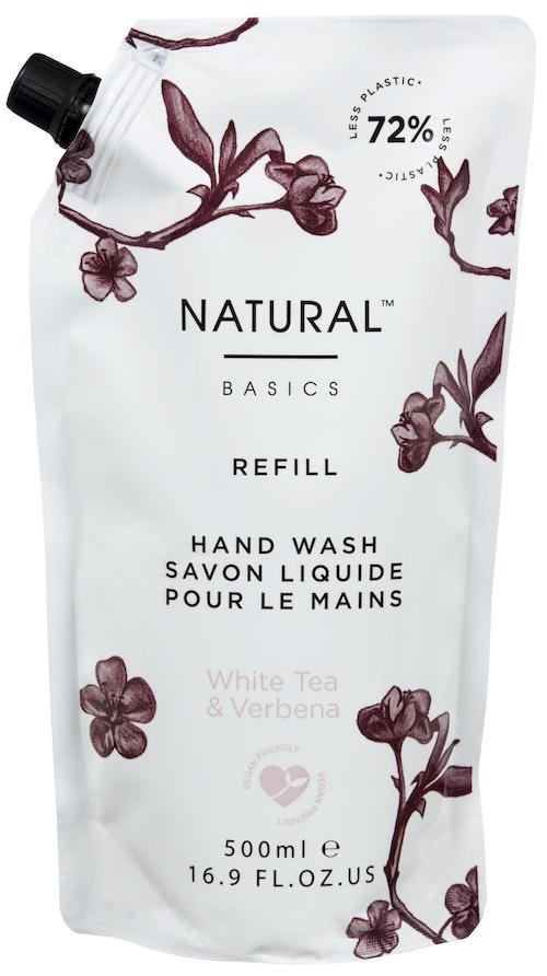 Natural Basics Refill Hand Wash White Tea & Verbena 500ml, 1 stk