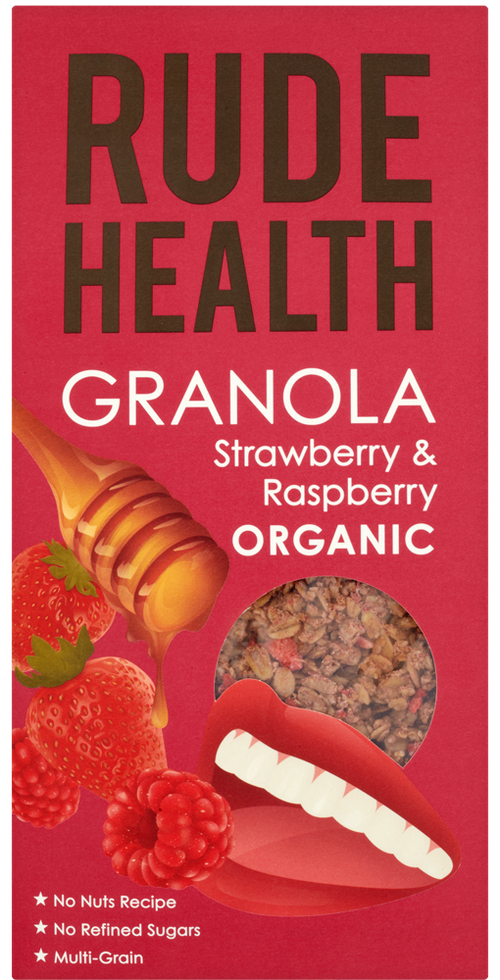Rude Health Strawberry & Raspberry Granola Økologisk, 500 g
