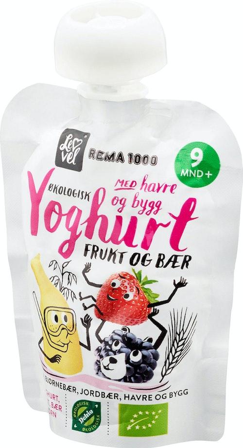 REMA 1000 Lev Vel Yoghurt med Frukt Bær Fra 9 mnd, 90 g
