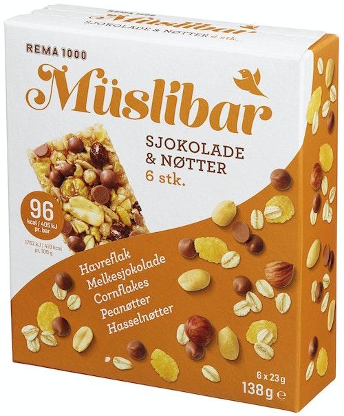 REMA 1000 Müslibar Sjokolade og Nøtter 23g 6pk 6 stk, 138 g