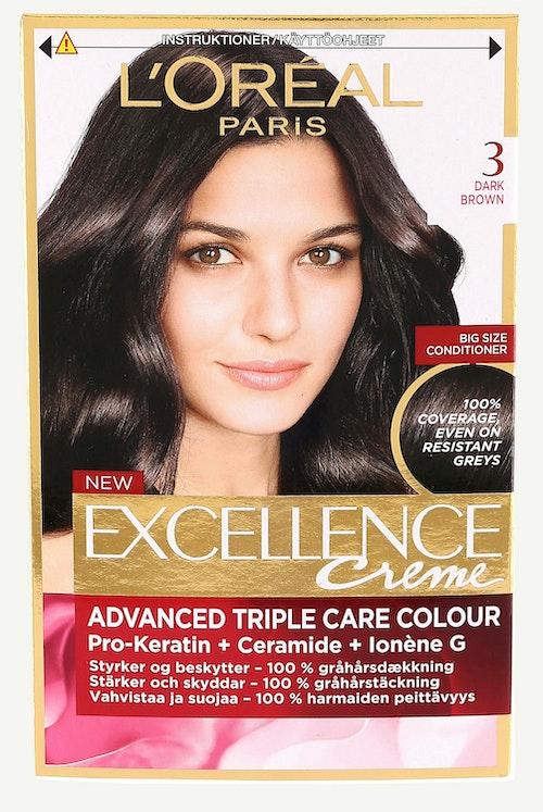 L'Oreal Excellence 3 Mørkebrun 1 stk