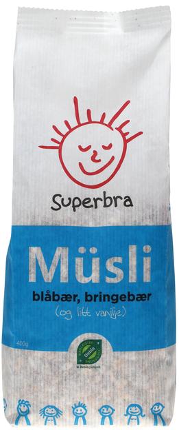 Superbra Müsli med Blåbær, Bringebær & Vanilje 400 g