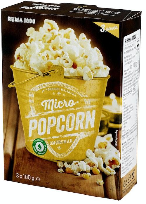 REMA 1000 Micropopcorn med Smør 3pk, 300 g