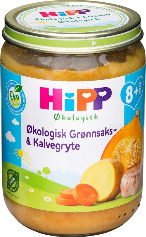 Hipp Grønnsaks- & Kalvegryte Økologisk, fra 8mnd, 190 g