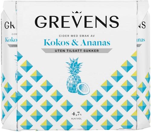 Grevens Grevens Kokos og Ananas Uten Tilsatt Sukker 6 x 0,5l, 3 l
