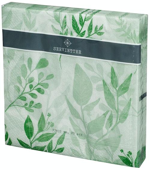 REMA 1000 Servietter med Grønne Blader 33 x 33cm, 20 stk